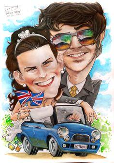 Caricatura a acuarelas y tintas / Carlos y Romina