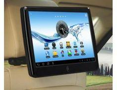 """Android 4.0 tablet med 9"""" touchskærm, samt AV-indgang til DVD og DVB-TV signal fra autoradio i bilen, osv. Monteres let på eksisterende nakkestøtter med det medfølgende beslag. Besøg www.tabletcafe.dk"""