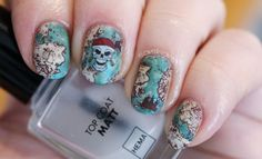 Stamped Manicure: Pirates Treasure Map Nail Art - Seasonails