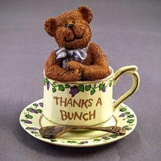 """Boyds Tea Cup Bears Gracie Teabearie """"Thanks A Bunch"""" Figurine Ornament   eBay"""