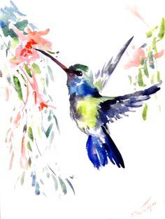 Hummingbird Original watercolor painting 12 X 12 by ORIGINALONLY