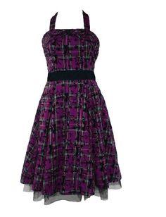 Amazon.com: 50's Halterneck Tartan Flock Dress Purple: Clothing