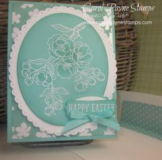 Stampin' Up! ... handcrafted Easter card:Idescribable Gift by Carol Payne ... monochromati aqua ... like the line art embossed in white with slight shading of base color ... great card!