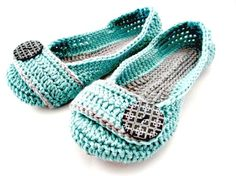 Women's Crochet Slippers - Button Slippers - Womens sizes 5 6 7 8 9 10 11- blue and gray - Custom made on Etsy, $32.00