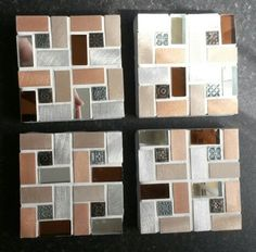 Set of 4 handmade glass and metal tile mosaic coasters.