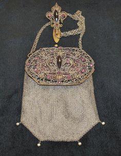 Antique Victorian Metal Mesh Fleur De Lis Jeweled Chatelaine Purse