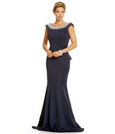 Cachet Caviar Beaded Cowl Neck Gown | Caviar, Cowl neck and Dillards