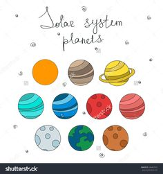 doodle icons. solar system planets. vector illustration