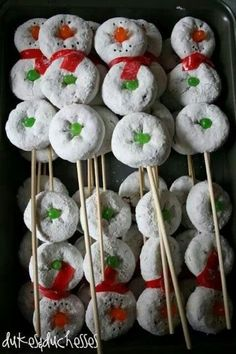 Cute snowman donuts on a stick