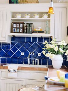 Cobalt Blue Kitchen Tile Kitchen backsplash tile colorful