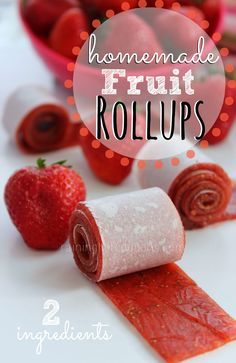 2 Ingredient Homemade Fruit Rollups. #food #snacks #fruit #rollups