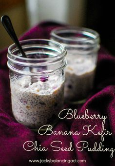 Blueberry Banana Kefir Chia Seed Pudding.  1 medium ripe banana mashed well,  1/4 c blueberries,  3 T chia seeds,  3/4 c plain kefir,  1 tsp maple syrup