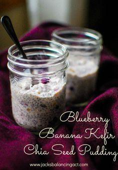 Blueberry Banana Kefir Chia Seed Pudding