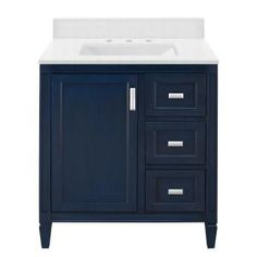 Home Decorators Collection Channing 31 in. W x 22 in. D Bath Vanity in Royal Blue with Engineered Marble Vanity Top in Snowstorm with White Sink - The Home Depot Basin Cabinet, Vanity Cabinet, Vanity Sink, Bath Vanities, Blue Bathroom Vanity, Blue Vanity, Small Bathroom, Bathroom Sinks, Bathroom Ideas