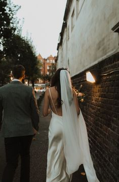 Low Back Slip Wedding Dress with Veil | By Alba Turnbull Photography | Micro Wedding | Intimate Wedding | Small Wedding | Church Wedding | Bride and Groom | Stylish Bride | Blush Bouquet for Bride | Blush Wedding Flowers | Brompton Wedding