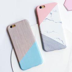 Fashion Geometric Splice Pattern Marble Case For iphone 7 Case For iphone7 6 6S / Plus Phone Cases Funny Stone Back Cover Capa