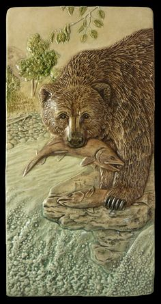 """Ceramic tile sculpture Grizzly bear Catch by MedicineBluffStudio, $68.00  Then question is, A bad day fishing is better than a great day at work, what if you have a great day fishing?  That's the thought behind """"Catch of the Day"""""""