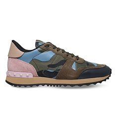 VALENTINO Camouflage suede and leather sneakers. #valentino #shoes #