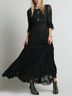 Vestido manga larga bordado maxi -negro 44.29
