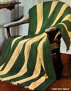 NEW! Cable Knit Afghan knit pattern from Your Favorite Afghans to Knit & Crochet, Volume No. 45, from 1966.