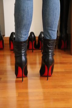 Just wanted to share my Christian Louboutin boots. Ankle Boots, High Heel Boots, Heeled Boots, Botines Peep Toe, Stiletto Heels, Shoes Heels, Footwear Shoes, Girls Shoes, Ladies Shoes