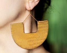 Grandes boucles d'oreilles or boucles d'oreilles Boucles d'oreilles africain boucles d'oreilles Tribal ethnique bijoux moderne boucles d'oreilles grosses boucles d'oreilles Boucles d'oreilles pendantes abstrait