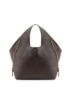 V26WQ Tom Ford Jennifer Side-Zip Leather Hobo Bag, Dark Brown