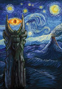 """""""Middle Earth Van Gogh"""" aka """"Sauron Van Gogh"""" by DAObiwan Inspired by Tolkien's Middle Earth, this design features the Eye of Sauron in the style of Van Gogh's Starry Night Jrr Tolkien, Gandalf, Legolas, Desenhos Van Gogh, Van Gogh Pinturas, Day Of The Shirt, Mythology Tattoos, O Hobbit, Illustration"""