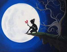 """16""""x20"""" - Acrylic Painting on Canvas - Tree - Moon - Silhouette -Red Dragonfly - Cliff - ORIGINAL. $275.00, via Etsy."""