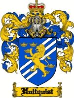 Hultquist Coat of Arms / Hultquist Family Crest  This Swedish, English and Danish/Norwegian topographic name of HULTQUIST was derived from t...