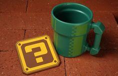 Mario Bros Pipe Mug & Question Block Coaster