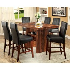 Furniture of America Marcson 7 Piece Counter Height Dining Table Set | from hayneedle.com