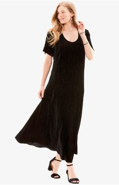 Modest Black Dress, Black Dress Outfits, Comfy Dresses, Plus Size Maxi Dresses, Full Figured Women, Woman Within, Special Occasion, Cold Shoulder Dress, Feminine