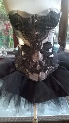 silver grey with black lace overlay corset by steampunkageboho
