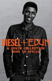Spring 2013 marks the launch of a collaboration that goes beyond fashion: DlESEL+EDUN present a denim collection born in Africa and worn by a new generation of creative talents. Inspired by African creativity, the collection is manufactured in Africa with the finest CCI cotton from Uganda.