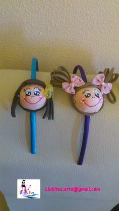 Diademas fofuchas morada y turquesa/Fofucha doll hairbands purple and blue