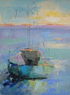 Just Dreamin' Oil on Canvas... love the many shades of blue and the thick…