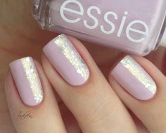 Half Glitter Nails