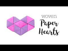 Origami Woven Paper Hearts Tutorial ♥︎ Valentine's DIY ♥︎ Paper Kawaii - YouTube
