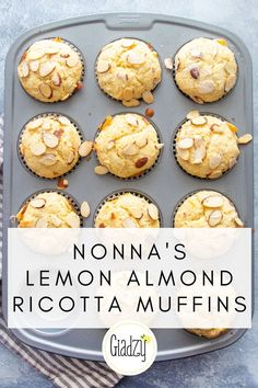 Nonna's Lemon Almond Ricotta Muffins These easy Italian muffins are perfectly light and fluffy, with subtle flavors from almond and lemon. They make the house smell amazing, and it's such a great bite with morning coffee. Muffin Recipes, Brunch Recipes, Gourmet Recipes, Baking Recipes, Dessert Recipes, Best Muffin Recipe, Baking Ideas, Breakfast Recipes, Almond Muffins