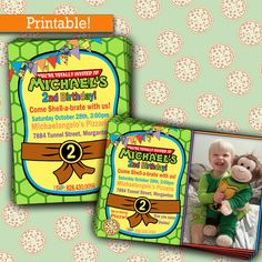 Ninja Turtles Birthday Party | TMNT Birthday Party Invitation, Printable, Picture Invitation by InkyInvite on Etsy