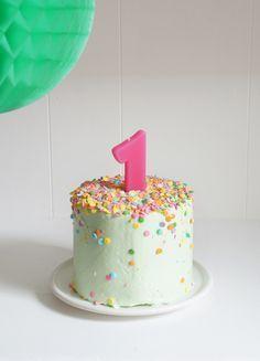 Banana Baby Birthday Smash Cake; love the design and the recipes. #GlitterCake