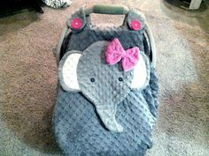 Order Now! Ready To Be Shipped Within 7 Business Days Gray Fitted Fleece Elephant Car Seat Canopy With Peek-A--Boo Opening Minky And Fleece by lindasnd on Etsy Baby Shower Gifts, Baby Gifts, Elephant Nursery, Elephant Baby, Elephant Stuff, Elephant Theme, Everything Baby, Baby Registry, Baby Accessories