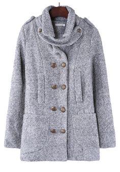 ++ Grey Plain Turndown Collar Double Breasted Wool Coat