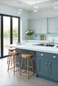 Modern Kitchen Design Modern meets Edwardian - transitional - Kitchen - South East - Rencraft Ltd - Modern Grey Kitchen, Grey Kitchens, Modern Kitchen Design, Home Kitchens, Transitional Kitchen, Minimalist Kitchen, Minimalist Style, Minimalist Design, Kitchen White