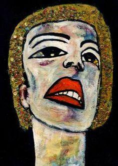"Saatchi Art Artist CARMEN LUNA; Painting, ""89-RETRATOS Expresionistas. Miel."" #art http://www.saatchiart.com/art-collection/Painting-Assemblage-Collage/Expressionist-Portrait/71968/51263/view"