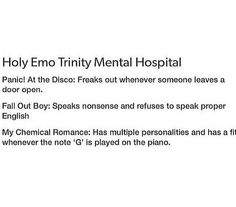 Panic! at the Disco+Fall Out Boy+My Chemical Romance= ♥ EMO TRINITY ♥
