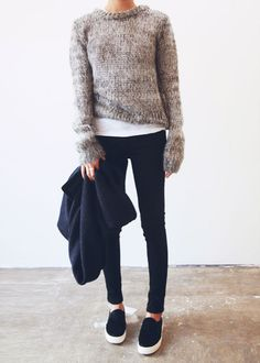 Pullover sweater, white tee, black jeans, black sneaks