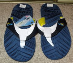 New Men's Frisky Blue Surfer Flip Flops Size US 8 Eur 41 Now $9.87