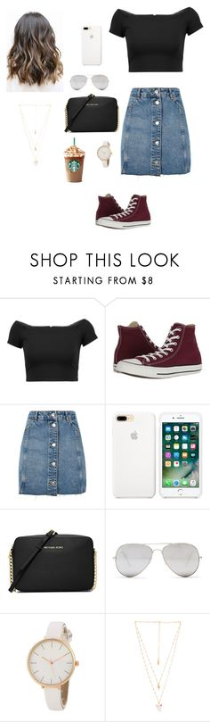 """Untitled #156"" by gabriellaallen on Polyvore featuring Alice + Olivia, Converse, Topshop, MICHAEL Michael Kors, Sunny Rebel and Natalie B"